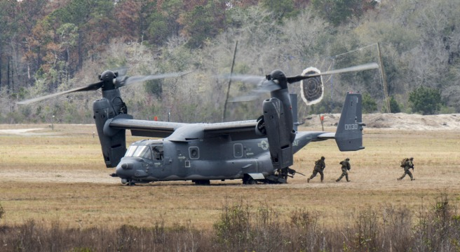 CV-22 Osprey deploys a tactical air control party